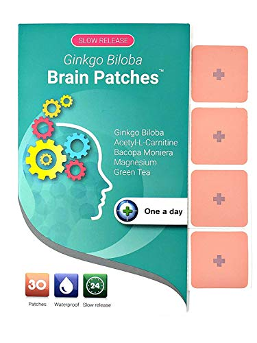 Ginkgo Biloba Brain Patches - Unique Supplement Combines 100% Natural Ingredients. A Convenient Way to Boost Brain Functions, Focus, Energy, Memory and Clarity (30 Days Supply)