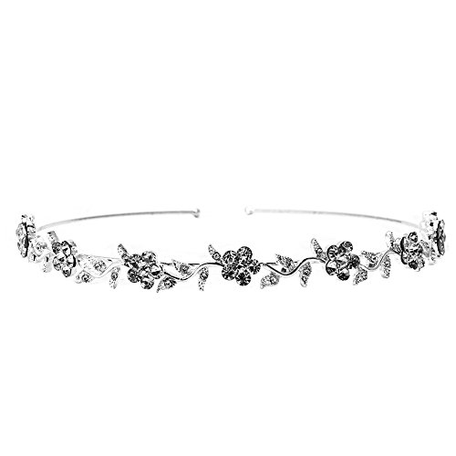 MIAOJI Cinta para el Pelo, Cabeza de Boda, Noche, Diamantes de imitación Plateados, Flores, ratán, 140 x 10 mm, Diamante