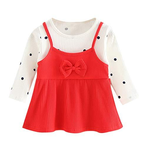Zegeey Baby MäDchen Kleid Kleinkind Langarm Prinzessin Kleid FrüHling Herbst Winter Kleidung Geburtstag Geschenk(A1-rot,0-6 Monate)