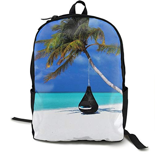 Lightweight Backpack Rucksack Foldable Ultralight Packable Backpack,Maldives Palm Tree Hammock Beach Unisex Durable Handy Daypack for Travel & Outdoor Sports