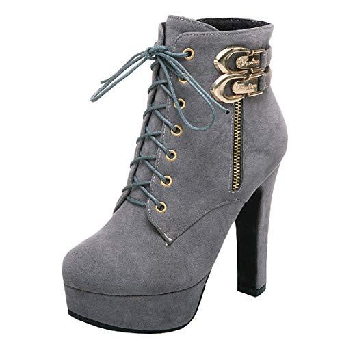MISSUIT Damen Schnürstiefeletten High Heels Plateau Ankle Boots mit Blockabsatz und Schnürung 12cm Absatz Reißverschluss(Grau,38)