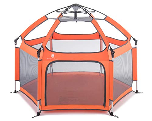 Pop #039N Go Portable Playpen  Lightweight Folding Easily Collapsible Play Yard Crib for Indoor amp Outdoor Play  Perfect Canopy Play Pen for Any Baby Toddler or Small Child Orange