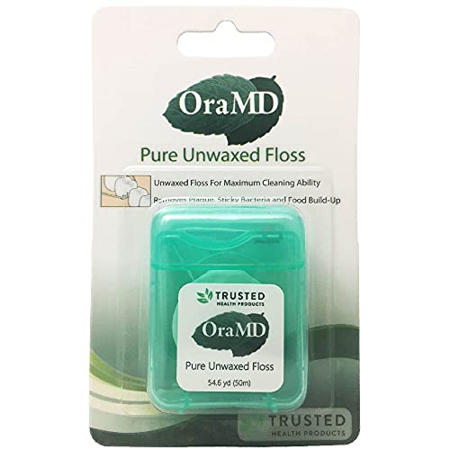 OraMD Pure Unwaxed, Unscented Dental Floss-Chemical-Free, Shred Resistant(1 pc)