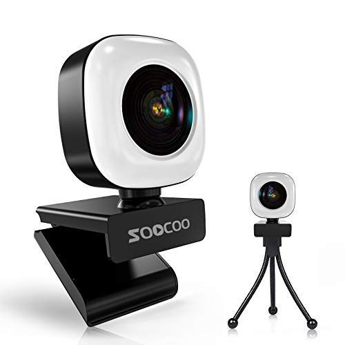 2K Webcam with Ring Light and Microphone, Soocoo Q9 USB Plug and Play Streaming Web Camera with Tripod, Adjustable Brightness, Beauty Retouch, for PC Laptop Mac Windows Zoom Skype Teams OBS