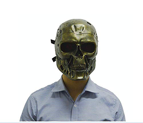 ZLD Halloween-Maske, Terminator-Roboter Maske, Horror-Schädel, CS-Feldmaske, Masken Harz, Horror-Dekoration, Gold, Silber,Silver