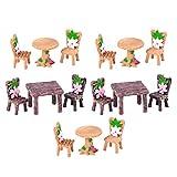 Hemoton 5 Sätze Miniatur Ornamente Puppenhaus Möbel DIY Tisch und Stuhl Feengarten Zubehör für Fee Garten Mikrolandschaft Deko Terrarium Blumentopf Sukkulenten Kaktus Moos