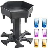 AIEOE 6 Schnapsglas Spender und Tablett Trinkspiele Schnapsgläser Spender Partygeschenke Schnapsausgießer für schnelleres Starten der Party