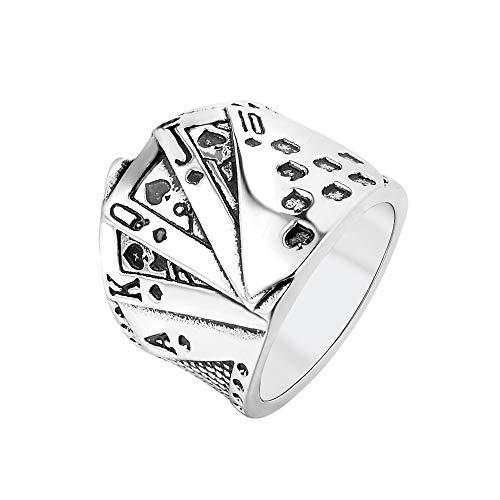 PAMTIER Herren Hip Hop Poker Karten Biker Ring mit Edelstahl Silber Größe 60 (19.1)