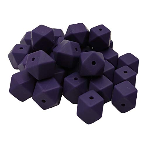 Why Choose 50pcs Twilight Purple Color 14mm Hexagon Silicone Beads Teether BPA Free Silicone Geometr...