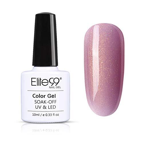 Elite99 Glitzer Gold UV Nagellack, Gel Nägel Maniküre UV LED Soak Off Gel Polish Glitter Nägel Design Gellack 10ML LSJ7704