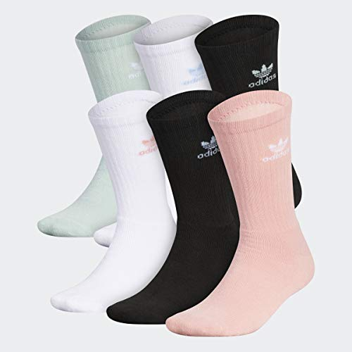 adidas Originals Men's Trefoil Crew Socks (6-Pair), Glory Pink/Black/White/Clear Sky Blue/Green Tint, Large, (Shoe Size 6-12)