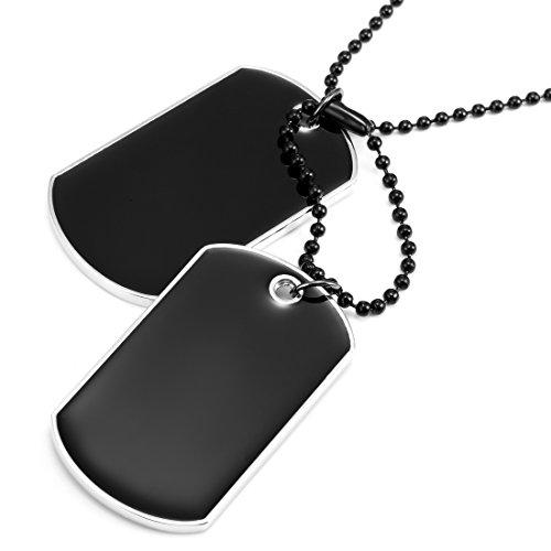 Kraftvoller Anhänger im Armee Stil Hundemarke Dog Tag Herren Halskette, Motorradfahrer einstellbare Schwarze Kette 68cm (Schwarz, Silber)