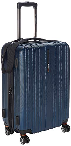 Traveler's Choice Tasmania 100% Pure Polycarbonate Expandable Spinner Luggage, Navy, Checked-Medium 24-Inch