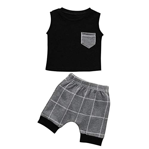 HaiQianXin Sommer Baby Boy Kleidung Sets Sleeveless T-Shirt Weste Tank Tops & Plaid Check Shorts 2 teile/satz (Size : 3T)