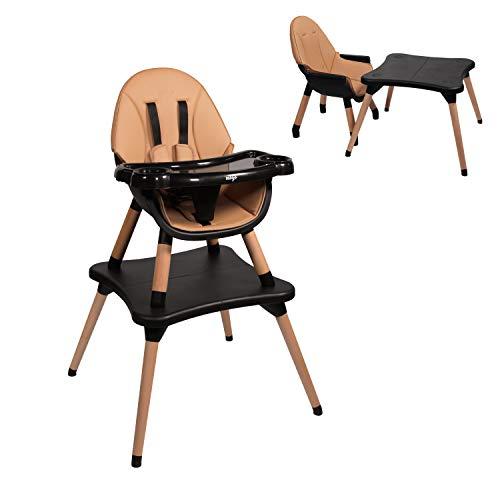Chaise haute évolutive EVA 2 en 1 dès 6 mois avec pieds en bois - transformable en chaise enfant + bureau de 3 à 5 ans (Marron)