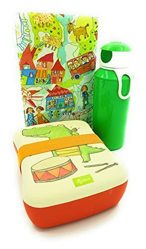 Sigikid Brotdose Bambus Krokodil Mepal Trinkflasche grün Lunchbox Kiga Geschenkset
