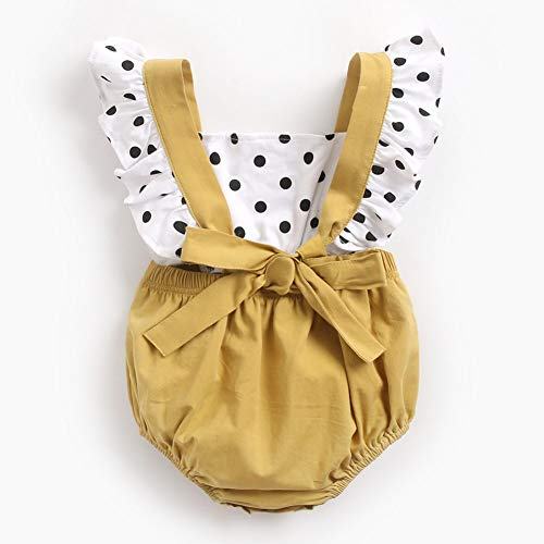 Baby Girl Summer Clothes Bodysuit Pasgeborenen Baby Girl Princess strik Romper Black Dots Jumpsuit Outfits (0-3 jaar)