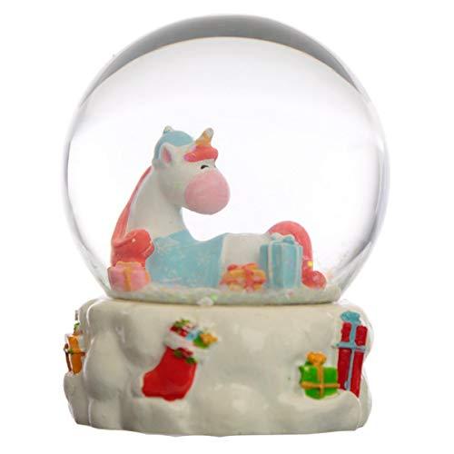 Puckator Bola de Vidrio con Nieve Libertad Interior - Unicornio Iris de Navidad