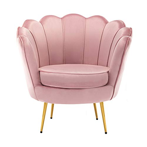 Mid Century Modern Upholstered Accent Chair,Retro Leisure Velvet Single Sofa with Golden Metal Legs for Living Room/Bedroom(Pink)