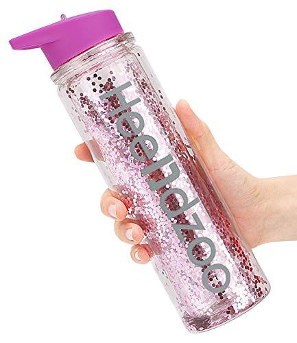 Heendzoo - Botella de agua con pajita, plástico libre de BPA, botella de agua con purpurina, 510 ml, tapa a prueba de fugas, gran regalo para mujeres y niñas