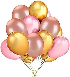 50 عبوة من بالونات لاتكس دائرية سميكة 2.8 جرام للقطعة - بالونات لامعة ذهبية ووردية اللون من اللاتكس لتزيين الحفلات