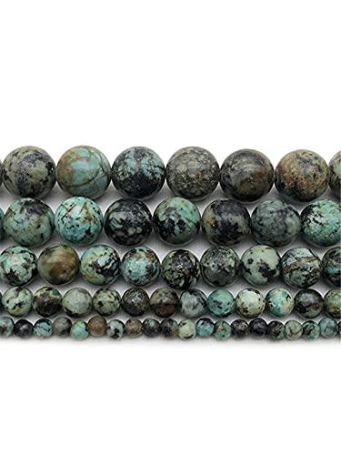 Cuentas sueltas redondas de piedra natural de Turquoises africanas de 15 pulgadas de hebra de 4/6/8/10 mm para hacer joyas de color verde 6 mm aprox. 63 cuentas