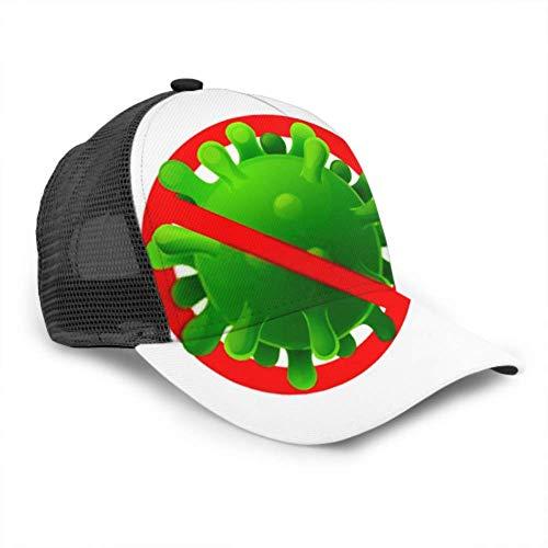 Gorra de béisbol Hombres Mujeres, Signo Precaución Coronavirus Stop Outbreak Peligro Camisa Ajustable Malla de Verano Gorra de béisbol de Verano ventilada Gorra de Sol Sombrero Sombrero Lavadora para