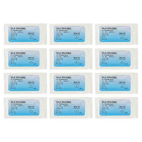iplusmile 12Pcs Naht Gewinde mit Nadel Ausbildung Nahtmaterial Themen Chirurgische Ausbildung Kit Wunden Naht Werkzeuge