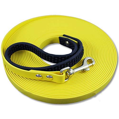 bio-leine Biothane Schleppleine 7,5m - 12mm breit I Hundeleine Leine für kleine und große Hunde I mit Handschlaufe - in Neongelb