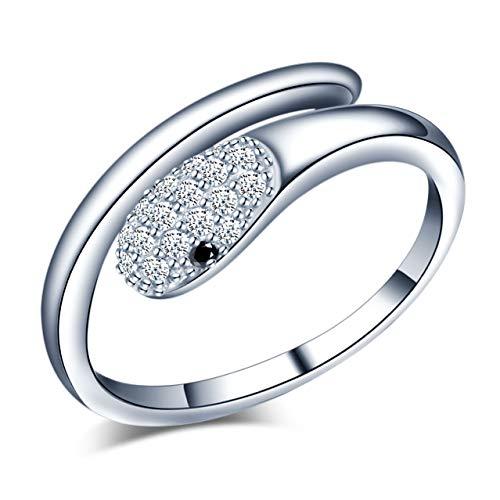 Yumilok Anello a forma di serpente in argento Sterling 925 per donne e ragazze, anello regolabile con scatola, misura L -R