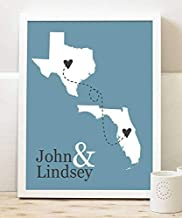 Personalized Two State Paper Art Print | Any Two States Long Distance Relationship Gift | Wedding State Gift | Wedding State | Custom Location | Long Distance Map