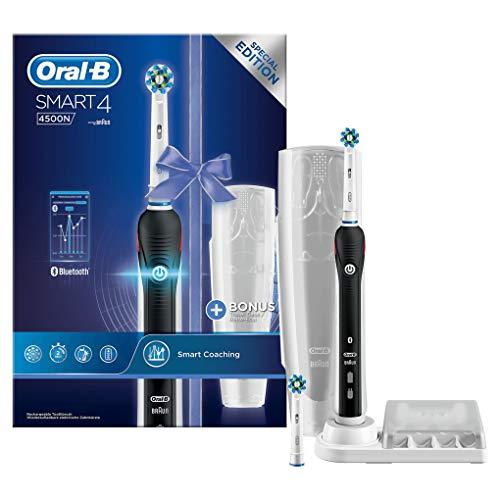 Oral-B Smart 4 4500N CrossAction Cepillo de dientes eléctrico recargable con tecnología de Braun, 1 mango negro, 3 modos, 2 cabezales de recambio y 1 estuche de viaje de plástico gratis
