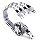 Câble Multi USB, Amuvec 4 en 1 Rétractable Multi Chargeur USB Câble Charge Rapide avec 2 iP Micro...