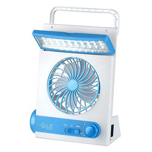 KUSUOU Solarlüfter Solar Fan 3 In 1 Multifunktions Tragbare Led Tischlampe Taschenlampe Solar Ventilator für Boote, Gartenhaus, Gewächshaus, Auto, Zelt, Camping (Blau)
