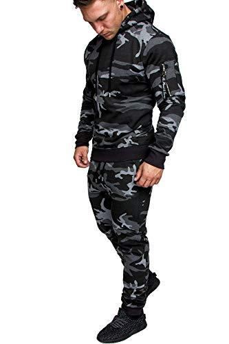 Amaci&Sons Herren Cargo Stil Sportanzug Jogginganzug Trainingsanzug Sporthose+Hoodie 1003 Camouflage Schwarz L