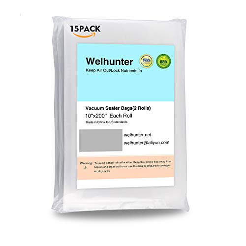 Wuayur Vacuum Sealer Bags with Length 10 inch and Height 8 inch,Commercial Grade Bag for all Vacuum Sealers and Food save