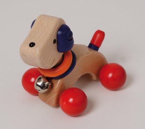 houten puppy blauw/rood 12 cm
