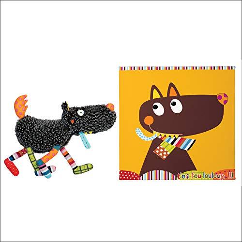 EBULOBO - Lot Composé d'Un Doudou d'éveil Loup et d'un Tableau Décoratif pour Chambre d'Enfant Mr LOULOUP - 30 x 30 cm - Doudou d'Eveil Lavable en Machine - 27 cm - Grelot, Pouet, Papier Bruissant