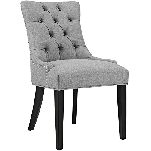 Modway Regent Modern Elegant Button-Tufted Upholstered Fabric With Nailhead Trim, Dining Side Chair, Light Gray -  EEI-2223-LGR