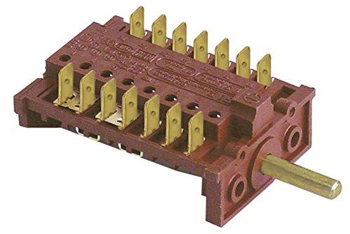 Fagor - Interruptor de levas para amortiguador combinado HME-20-11, HMP-20-11, HME-10-21, eje de 7 polos, diámetro de 6 x 4,6 x 23 mm, conector plano 7NO 16 A