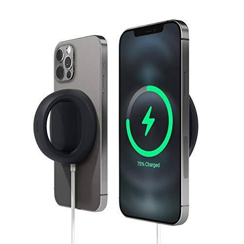 elago Grip Stand Compatible con la Cargador MagSafe - Soporte Grip Agarres de Silicona Compatible con iPhone 12, Pro, Pro MAX, Mini [Cable de Cargador No Incluido] (Negro)