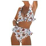 manadlian Femme Tankini Sexy Maillot de Bain 2 Pièces Ensembles Mode Maillot de Bain Deux Pièces Pas Cher Swimsuits avec Bikini Grande Taille Swimwear Plage Ete
