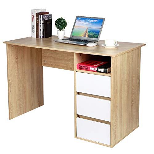 Escritorio con 3 cajones de estilo moderno, escritorio de oficina con cajones, escritorio para ordenador de casa y oficina, 110 x 73,5 x 55 cm