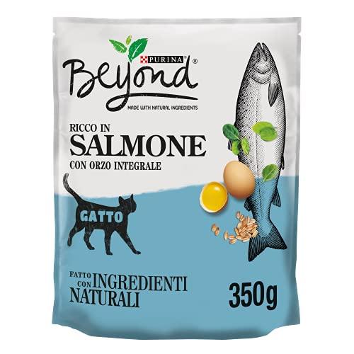BEYOND Crocchette Gatto Ricco in Salmone con Orzo Integrale - 8 Sacchi da 350 g