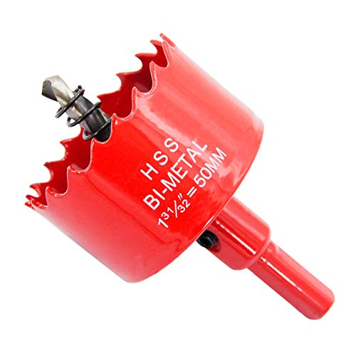 Bi-Metal Hole Saw Drill Bit HSS Hole Cutter with Arbor for Wood and Metal LAIWEI (1-31/32'(50mm))
