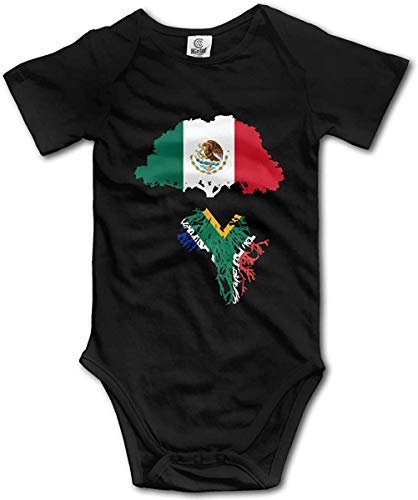 WlQshop Mono para Bebé,Mameluco Bebé Unisex Mexico Flag Roots South African Flag Creeper Jumpsuits Short Sleeve Baby Girls Bodies