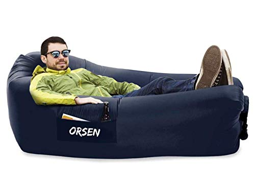 Orsen Inflatable Lounger Couch Hammock Waterproof Camping Accessory, Comfy Chair Air Sofa for Backyard Beach Musical Festival with Compression Sacks, Outdoor Gift for Men Boyfriend(Royal Blue)