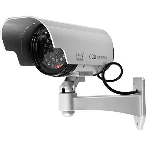 WEQQ Cámara CCTV LED de energía Solar Cámara de Seguridad Falsa Vigilancia simulada al Aire Libre (Negro)