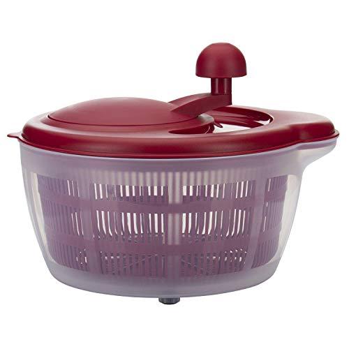 Westmark Salatschleuder, Fassungsvermögen: 5 Liter, ø 26 cm, Kunststoff, BPA-frei, Fortuna, Farbe: Transparent/Rot, 24322260