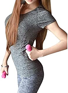 BEESCLOVER Women Professional Yoga Shirts Top Fitness Running Gym Sports T Shirt Quick Drying Short Tees Jogging Exercises Tops Gray S